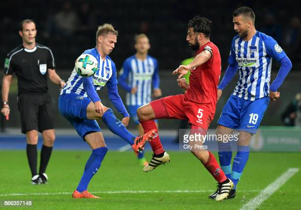 Ondrej Duda of Hertha BSC Dominic Maroh of 1st FC Koeln and Vedad Ibisevic of Hertha BSC during the game between Hertha BSC and 1st FC Koeln on...