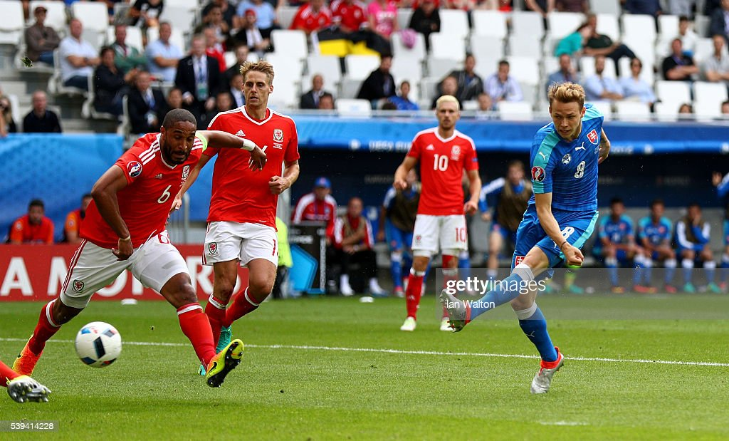 Ondrej Duda of Slovakia scores his team's first goal during the UEFA EURO 2016 Group B match between Wales and Slovakia at Stade Matmut Atlantique on...