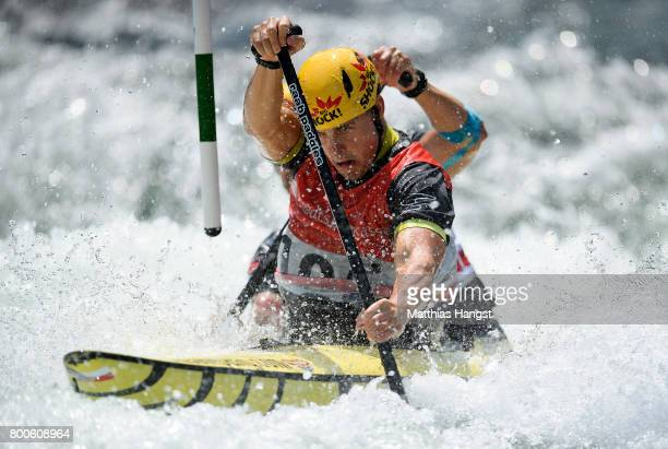 Ondrej Karlovsky and Jakub Jane of The Czech Republic compete during the Canoe Double Men's Final of the ICF Canoe Slalom World Cup on June 24 2017...
