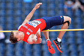 Ondrej Kopecky from the Czech Republic competes in the men's high jump decathlon during the IAAF World U20 Championships Day 1 at Zawisza Stadium on...