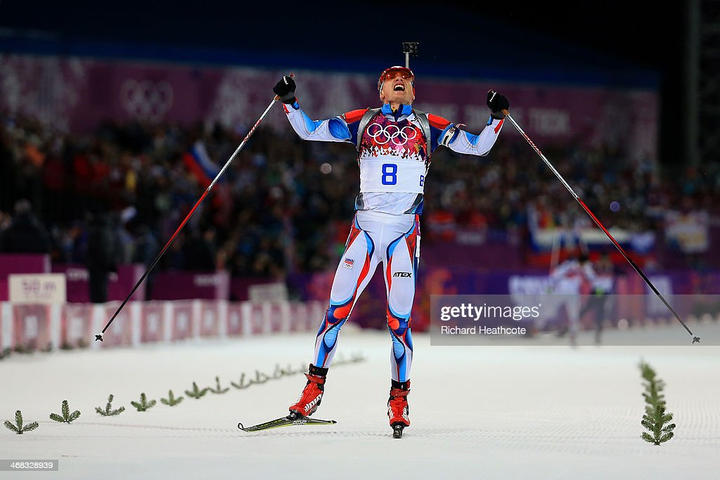 Ondrej Moravec of Czech Republic celebrates claiming silver in the Men's 12.5 km Pursuit during day three of the Sochi 2014 Winter Olympics at Laura Cross-country Ski & Biathlon Center on February 10, 2014 in Sochi, Russia.