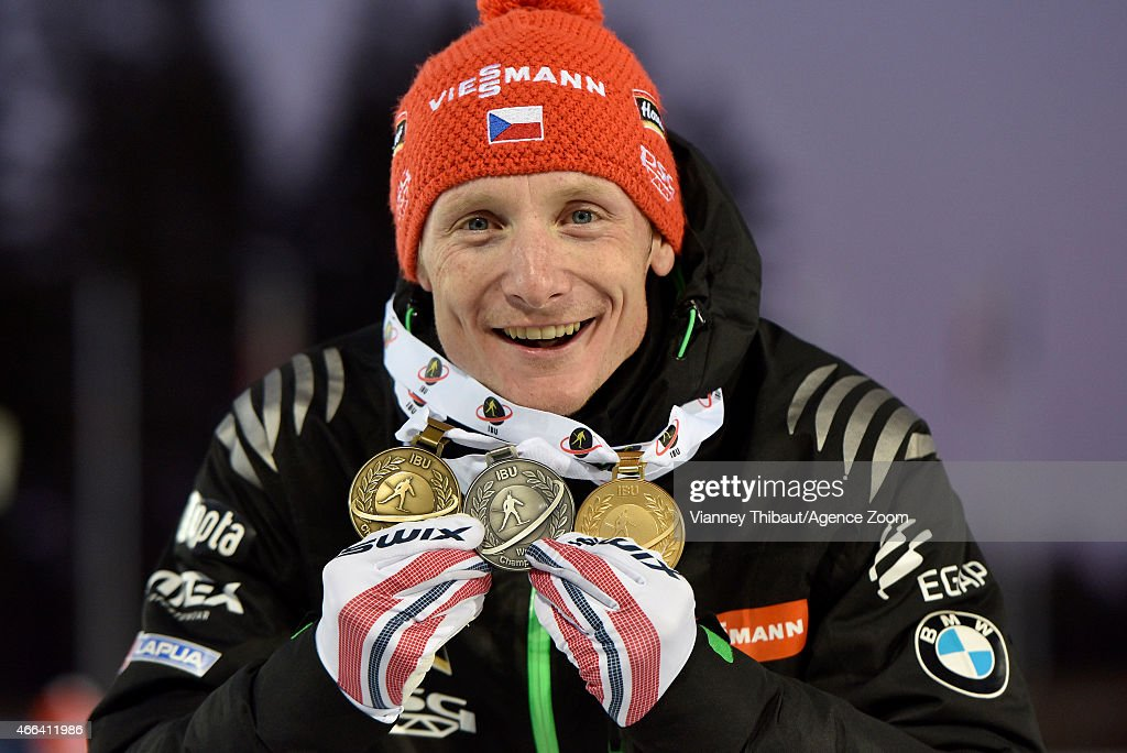 Ondrej Moravec of the Czech Republic takes 2nd place during the IBU Biathlon World Championships Men's and Women's Mass Start on March 15, 2015 in Kontiolahti, Finland.
