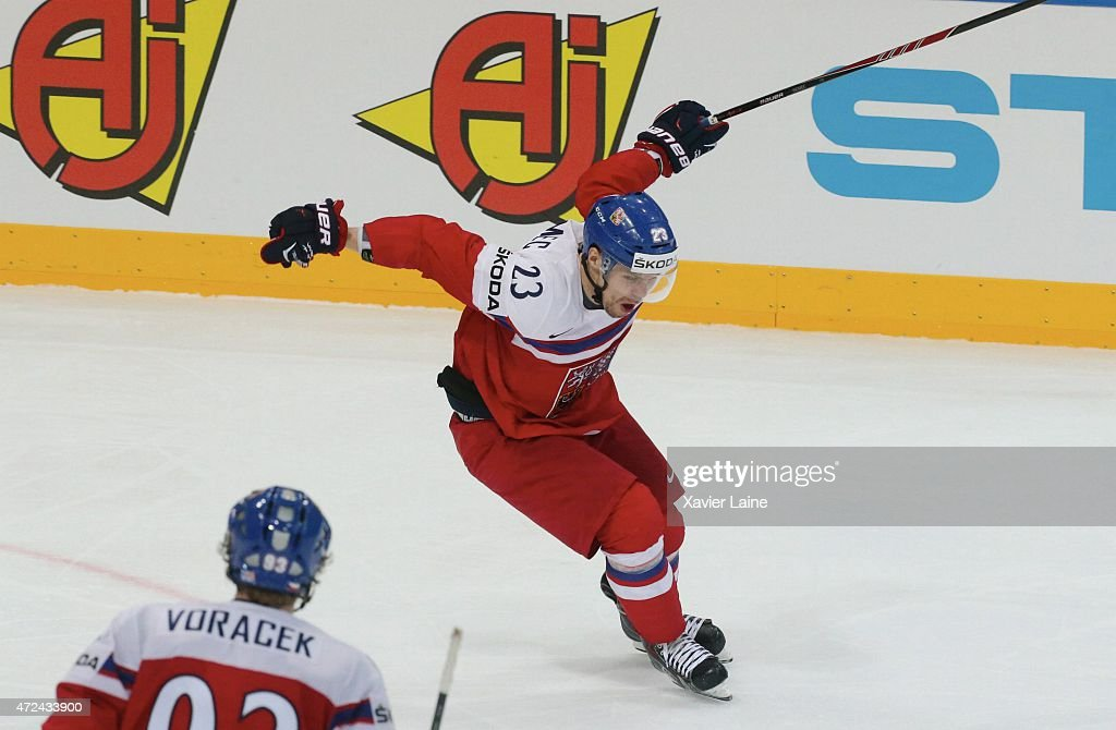 Ondrej Nemec #23 of Czech Republic celebrate his goal during the 2015 IIHF World Championship between Czech Republic and France at O2 arena on May 7, 2015 in Prague, Czech Republic.