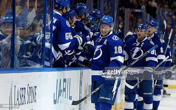 Ondrej Palat of the Tampa Bay Lightning celebrates his goal against the Pittsburgh Penguins during the third period at the Amalie Arena on February 5...