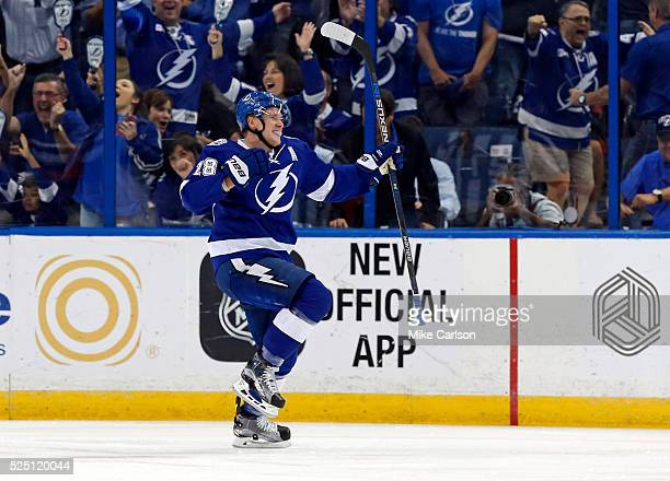 Ondrej Palat of the Tampa Bay Lightning celebrates his goal against the New York Islanders during the first period in Game One of the Eastern...