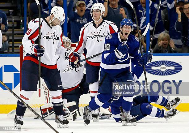 Ondrej Palat of the Tampa Bay Lightning celebrates his goal in front of Troy Brouwer and Nicklas Backstrom of the Washington Capitals at the Tampa...