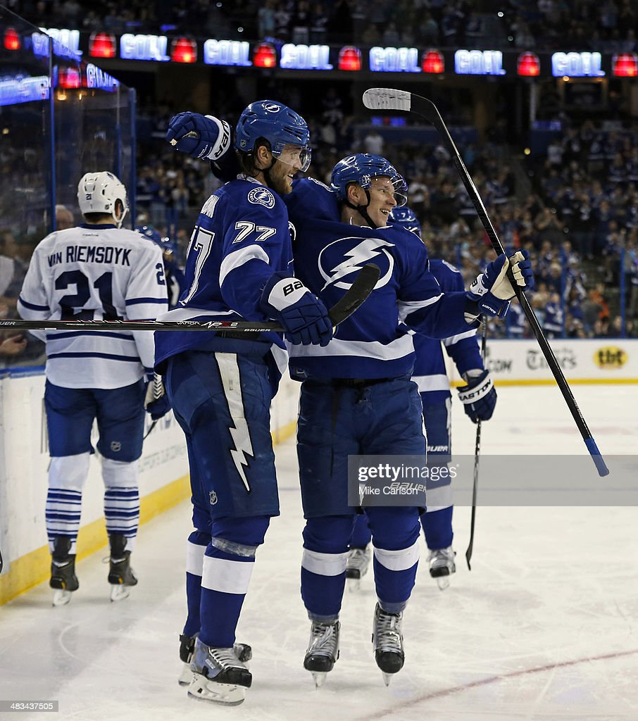 Ondrej Palat #18 of the Tampa Bay Lightning (R) celebrates his goal with Victor Hedman #77 against the Toronto Maple Leafs at the Tampa Bay Times Forum on April 8, 2014 in Tampa, Florida.