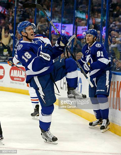 Ondrej Palat of the Tampa Bay Lightning celebrates his goal with teammate Steven Stamkos against the Edmonton Oilers during the second period at the...