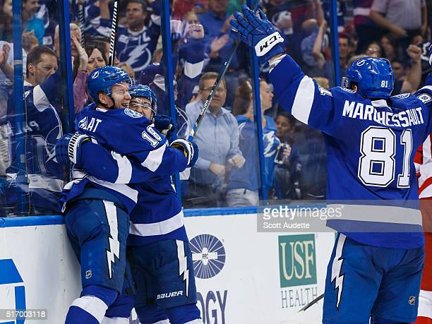 Ondrej Palat of the Tampa Bay Lightning celebrates his goal with teammates Tyler Johnson and Jonathan Marchessault against the Detroit Red Wings...