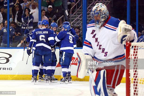 Ondrej Palat of the Tampa Bay Lightning celebrates with his teammates after scoring a goal in the second period against Henrik Lundqvist of the New...