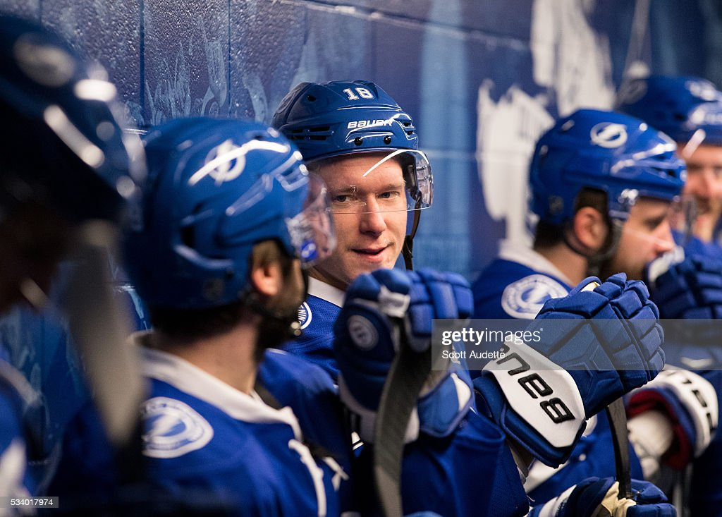Ondrej Palat #18 of the Tampa Bay Lightning gets ready for the game against the Pittsburgh Penguins and Game Six of the Eastern Conference Finals in the 2016 NHL Stanley Cup Playoffs at the Amalie Arena on May 24, 2016 in Tampa, Florida.