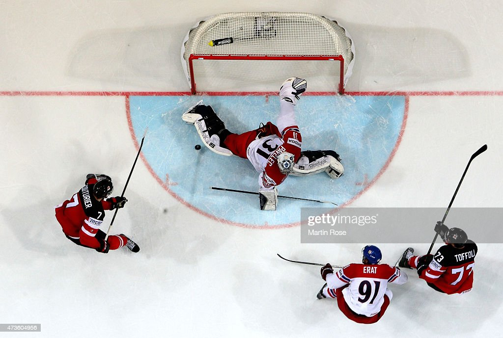 Ondrej Pavelec, goaltender of Czech Republic tends net against Canada during the IIHF World Championship semi final match between Canada and Czech Republic at O2 Arena on May 16, 2015 in Prague, Czech Republic.