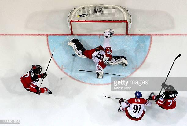 Ondrej Pavelec goaltender of Czech Republic tends net against Canada during the IIHF World Championship semi final match between Canada and Czech...