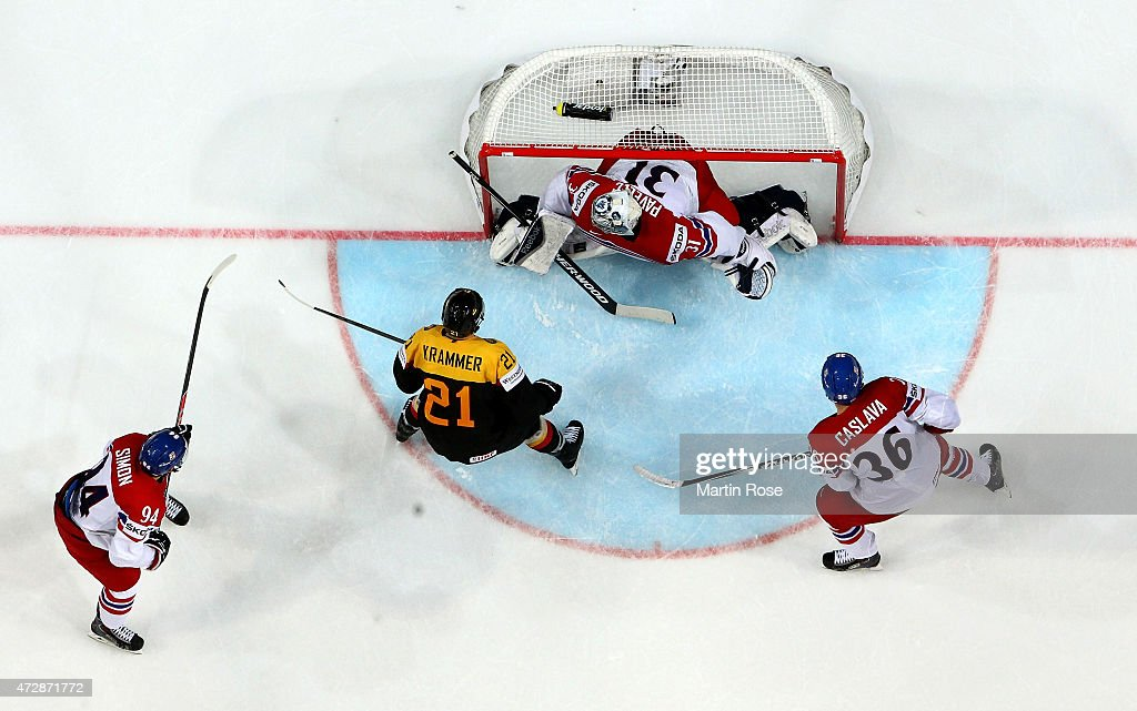 Ondrej Pavelec, goaltender of Czech Republic tends net against Germany during the IIHF World Championship group A match between Germany and Czech Repubic at o2 Arena on May 10, 2015 in Prague, Czech Republic.