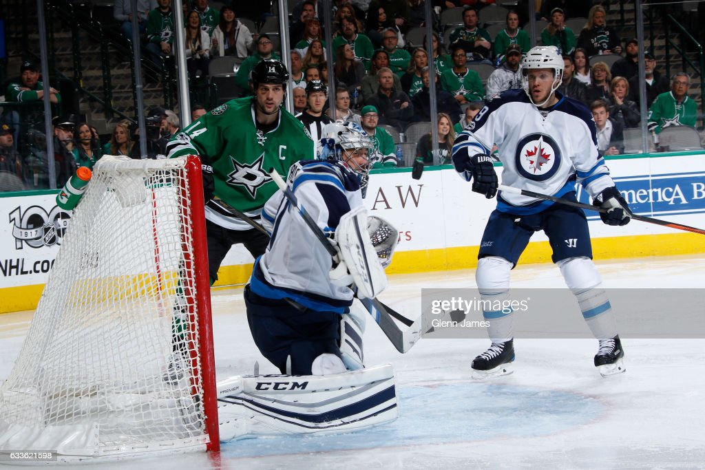 Ondrej Pavelec #31 of the Winnipeg Jets steers aside a shot against the Dallas Stars at the American Airlines Center on February 2, 2017 in Dallas, Texas.