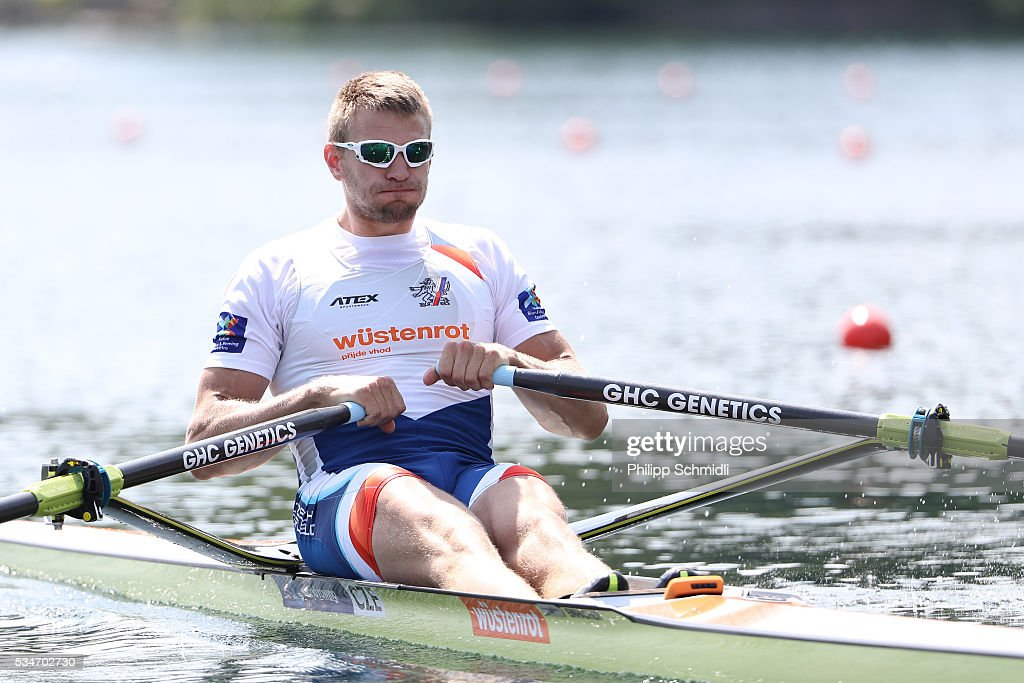 Ondrej Synek of the Czech Republic competes in the Men's Single Sculls quarterfinals during day 1 of the 2016 World Rowing Cup II at Rotsee on May 27, 2016 in Lucerne, Switzerland.