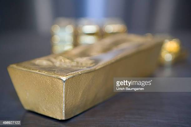 One 125 kg Gold bullion and 1 kg gold bullions in the strong room of pro aurum goldhouse in Munich
