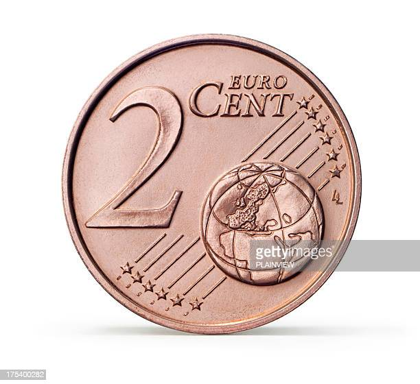 One 2 Euro cent coin (+clipping path)