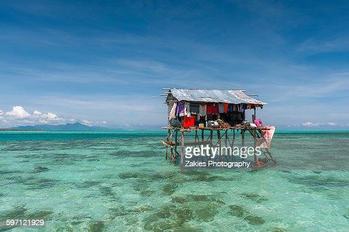 One Bajau stilt house at Semporna, Sabah, Malaysia
