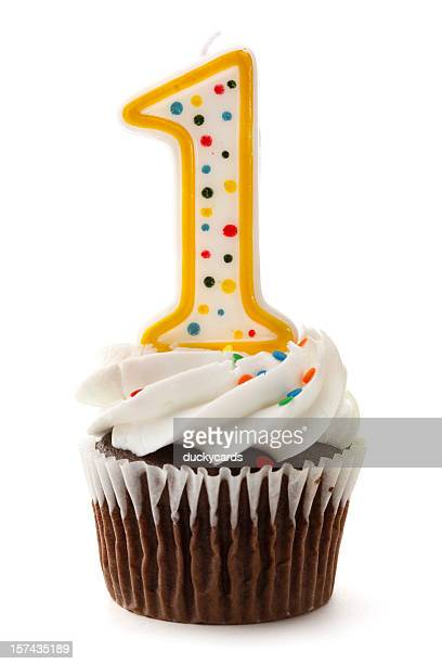 One Birthday Cupcake with Number 1 Candle