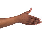 One african american man's hand ready to shake hands