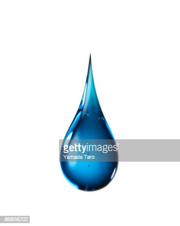 One blue drop on white background : Stock Photo