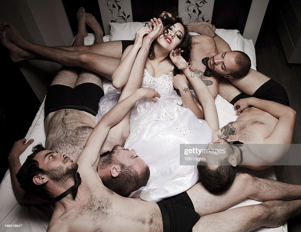 One bride Four grooms : Stock Photo