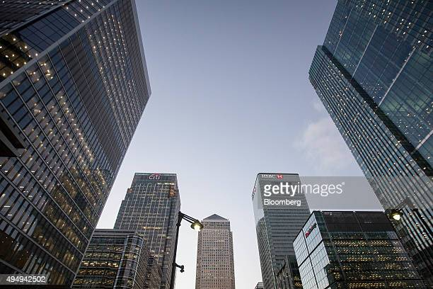 One Canada Water centre sits alongside the HSBC Holdings Plc headquarters second right and Citi Group second left in the Canary Wharf business...