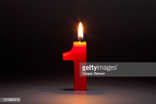 One Candle In The Shape Of The Number 1 : Stock Photo