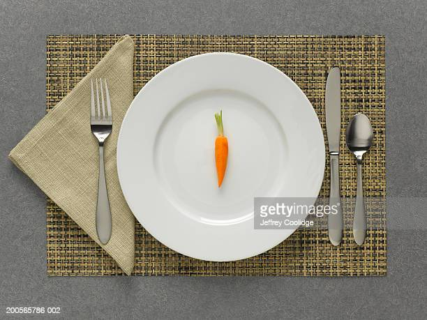 One carrot on plate with table setting, elevated view