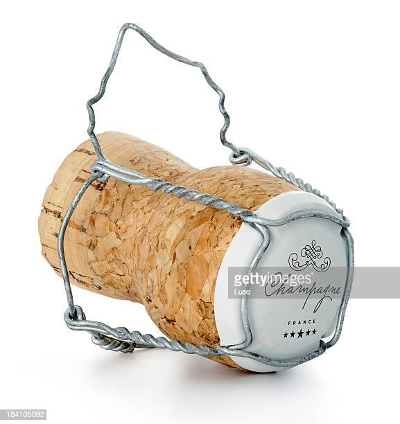 One champagne cork on a white background