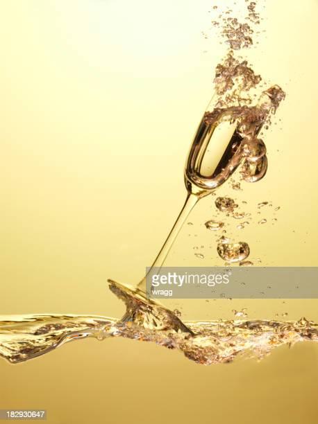 One Champagne Glass in Liquid