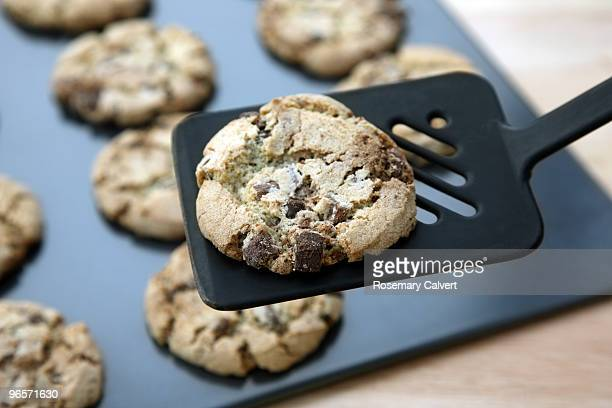 One chocolate chip cooky lifted off baking tray