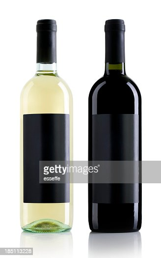 One clear wine bottle and one black wine bottle