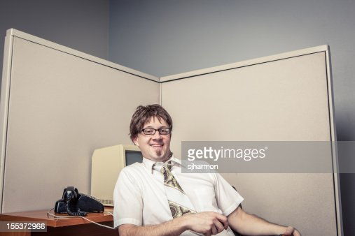 One Comical Nerdy Office Worker, Pleased with Himself