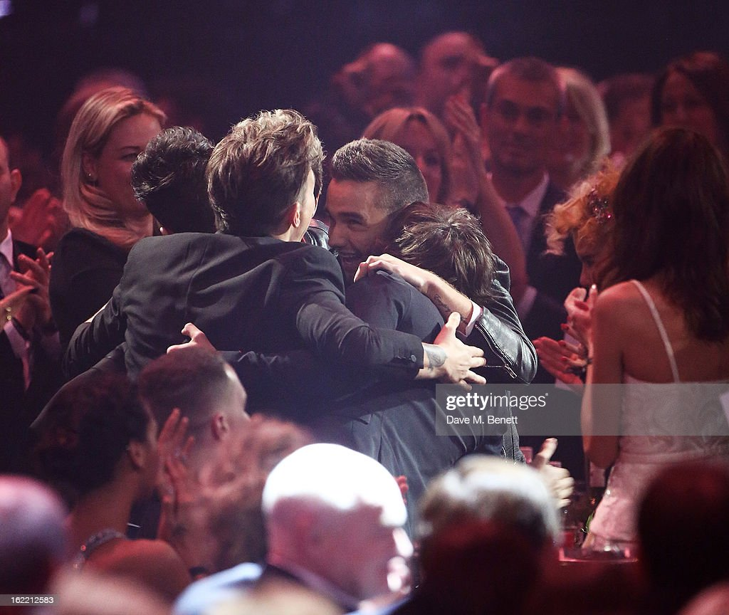 One Direction celebrate their win at the Brit Awards at 02 Arena on February 20, 2013 in London, England.