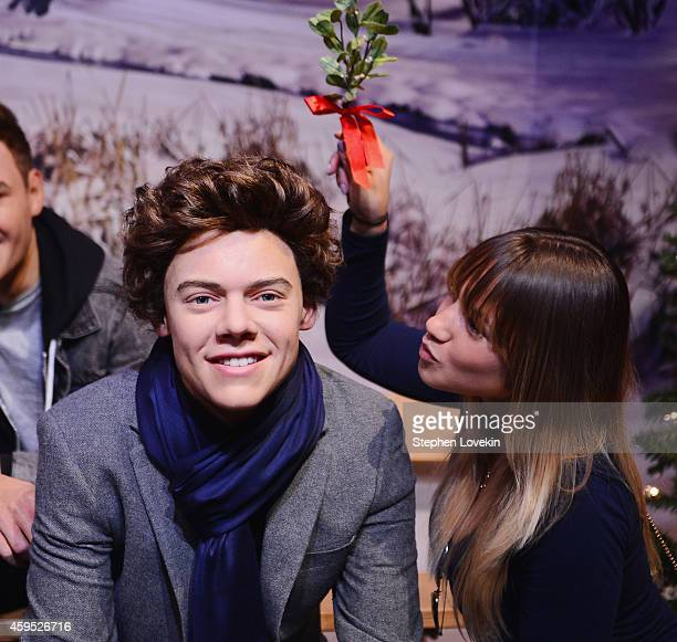 One Direction fan holds mistletoe over a wax figure of Harry Styles at Madame Tussauds New York on November 24 2014 in New York City