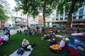 One Direction Fans camp in Leicester Square ahead of the bands London Premiere for 'This Is Us' on August 19 2013 in London England