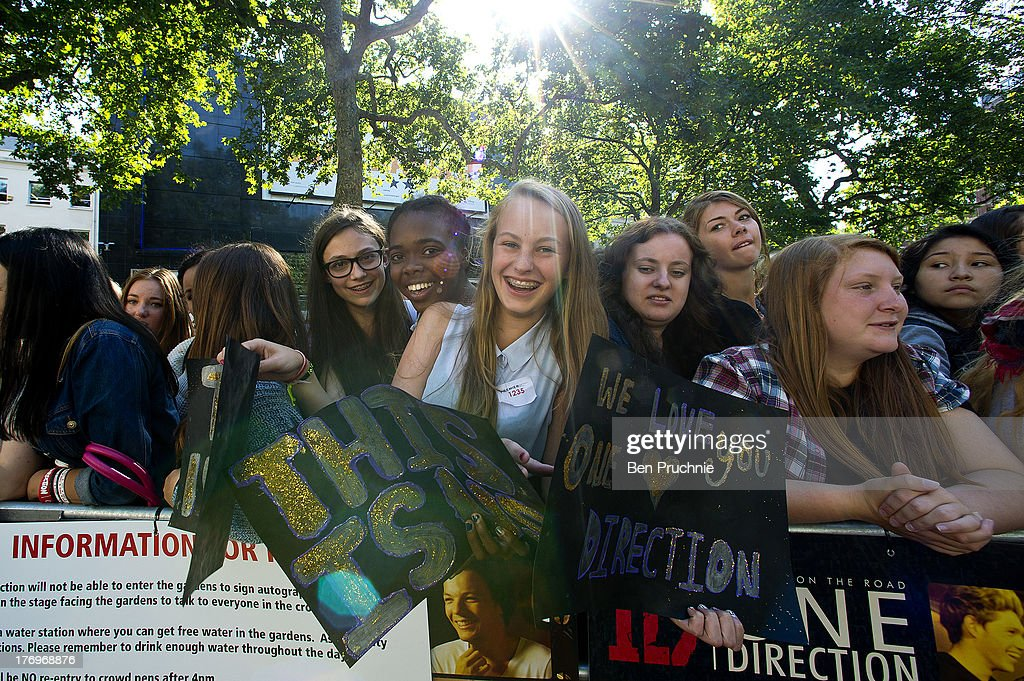 One Direction Fans camp in Leicester Square ahead of the bands London Premiere for 'This Is Us' on August 19, 2013 in London, England.