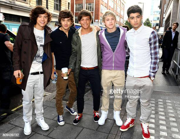 One Direction Harry Styles Liam Payne Louis Tomlinson Niall Horan and Zayn Malik arrive at Radio 1 in London