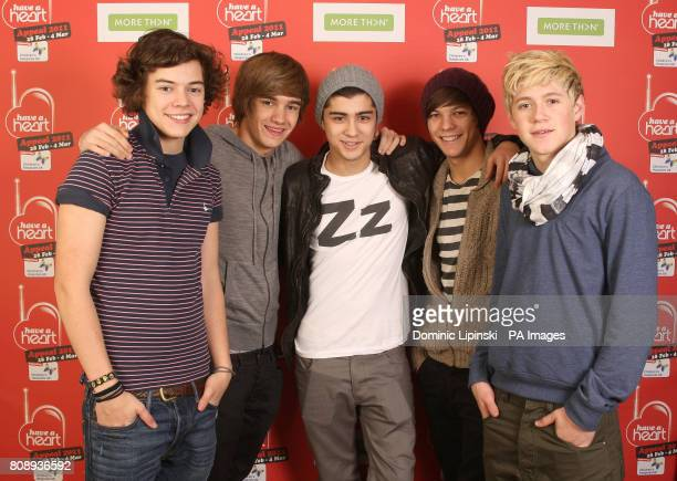 One Direction Harry Styles Liam Payne Zayn Malik Louis Tomlinson Niall Horan during the 2011 Heart FM Have a Heart appeal raising money for...