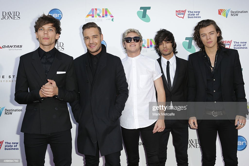 One Direction Louis Tomlinson Liam Payne Niall Horan Zayn Malik and Harry Styles arrive at the 28th Annual ARIA Awards 2014 at the Star on November...
