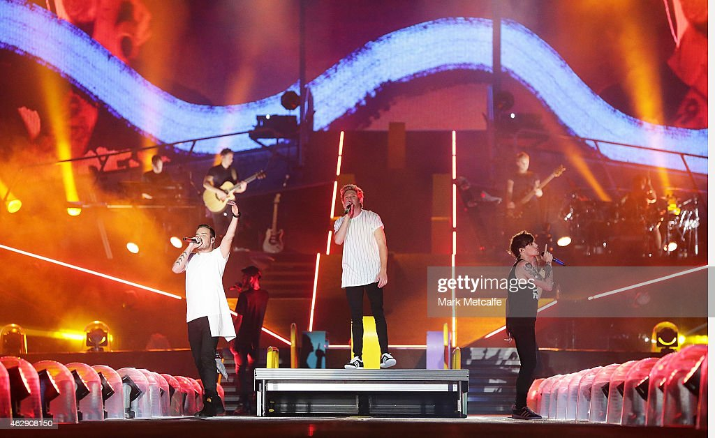 One Direction perform during the 'On the Road Again' World Tour at Allianz Stadium on February 7 2015 in Sydney Australia