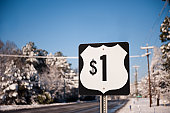 One Dollar Highway Number 1 Road Sign