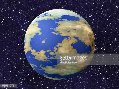 one earth planet on many cosmos stars backgrounds : Stock Photo