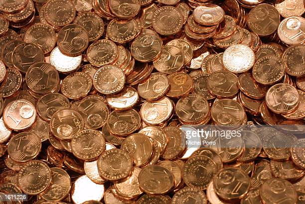 One Euro cent coins are readied for distribution August 28 2001 in the Netherlands Bank depot in Lelystad Holland The first of some 28 billion Dutch...