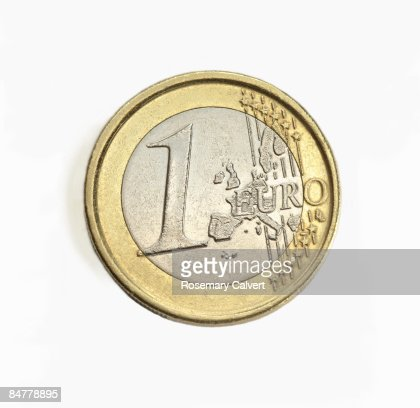 One euro coin in close up. : Bildbanksbilder