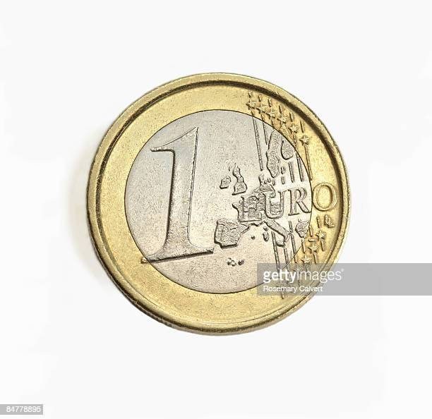 One euro coin in close up.