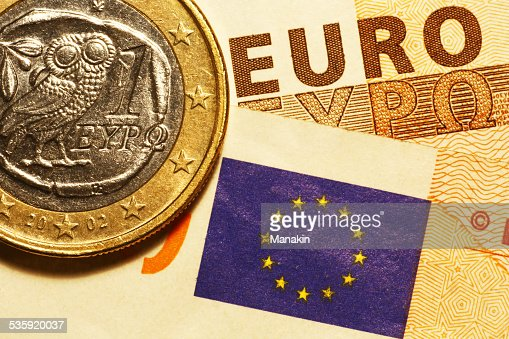 One euro greek coin & banknotes : Stock Photo
