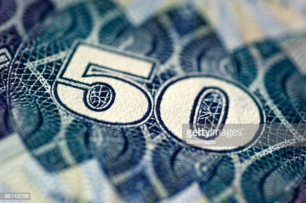 'One fifty bank note, close-up'